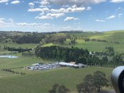 Approaching Bendooley Estate Vineyard by Helicopter Tour
