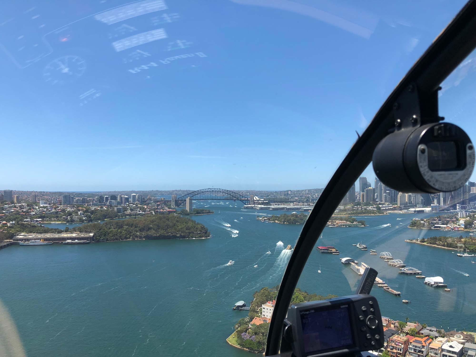 Helicopter flight over the Sydney Harbour Bridge